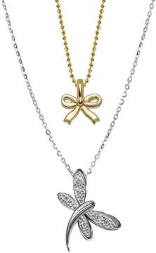 Alex Woo Women's 14K White Gold Dragonfly and Mini Yellow Gold Bow Pendant Necklace