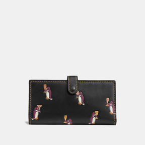 COACH Coach Slim Trifold Wallet With Penguin Print - BLACK COPPER/BLACK - STYLE