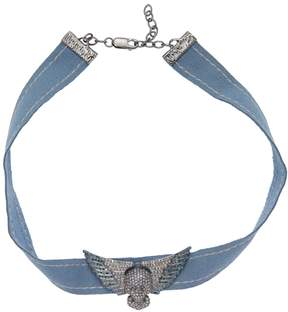 Artisan Women's Skull Choker with white and Blue Diamonds