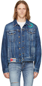 Saint Laurent Blue Distressed Patches Denim Jacket