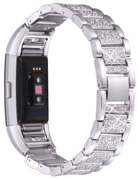 Fitbit For Charge 2, bayite Replacement Metal Bands with Rhinestone Adjustable Charge 2 Bands Bracelet Silver