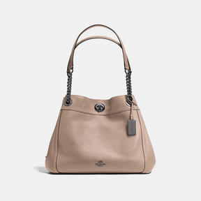 COACH Coach Turnlock Edie Shoulder Bag - DARK GUNMETAL/STONE - STYLE
