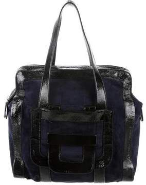 Pierre Hardy Leather-Trimmed Suede Bag
