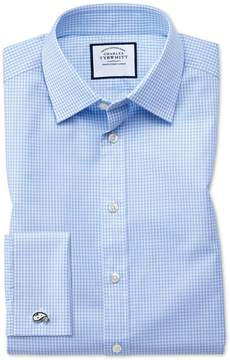 Charles Tyrwhitt Extra Slim Fit Small Gingham Sky Blue Cotton Dress Shirt Single Cuff Size 14.5/32