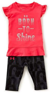 Under Armour Baby Girls 12-24 Months Born To Shine Tee & Printed Pants Set