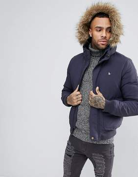 Jack Wills Pateley Down Bomber Jacket With Hood In Navy