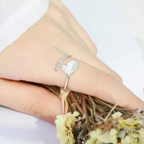 Alpha A A Silver Tone Duo Leaf Band Ring - One Size Fits all