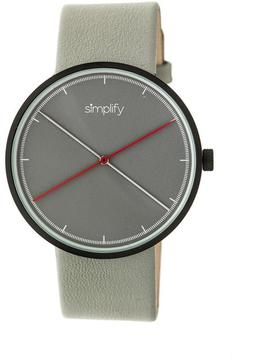 Simplify The 4100 SIM4102 Black and Grey Leather Analog Watch