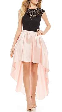 B. Darlin Lace Bodice with Satin Skirt High-Low Dress