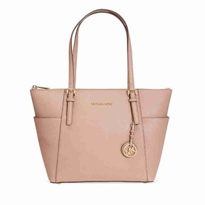 Michael Kors Jet Set Saffiano Leather Tote - Beige - PINK - STYLE