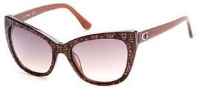 GUESS Women's GU7438 GU/7438 50F Brown/White/Gold Cat Eye Sunglasses 54mm