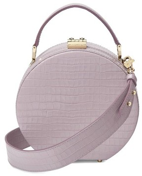 Aspinal of London Mini Hat Box In Deep Shine Lilac Small Croc
