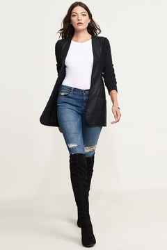Dynamite Faux Leather & Knit Blazer
