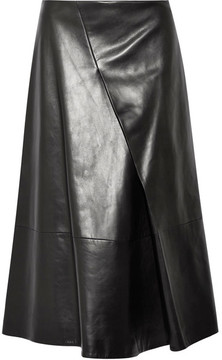 Jil Sander Pleated Leather Midi Skirt - Black