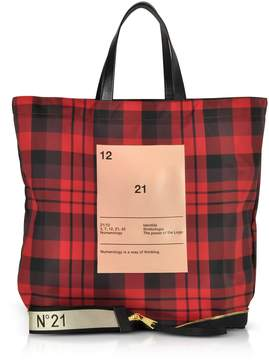 N°21 N.21 N21 Red & Black Tartan Print Nylon And Leather Big Foldable Shopper