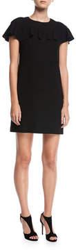 Trina Turk Sparkle Crepe Short-Sleeve Cocktail Dress w/ Ruffle