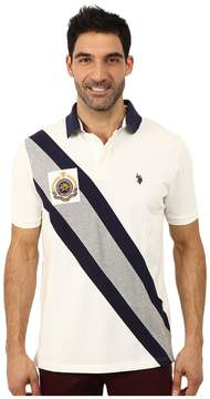 U.S. Polo Assn. Diagonal Striped Pique Polo Men's Short Sleeve Pullover