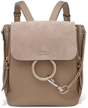 Chloé - Faye Small Textured-leather And Suede Backpack - Gray