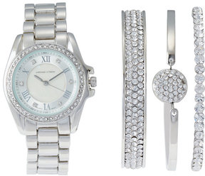 Adrienne Vittadini AD1034S165 Silver-Tone Watch & Bangle Set