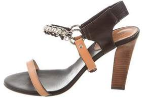 Maje Chain-Trimmed Leather Sandals