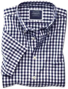 Charles Tyrwhitt Slim Fit Button-Down Non-Iron Poplin Short Sleeve Navy Gingham Cotton Casual Shirt Single Cuff Size Small