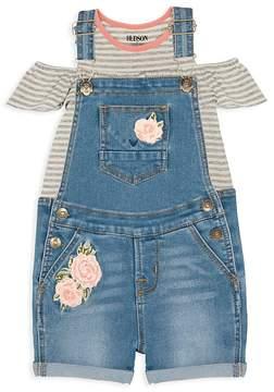 Hudson Girls' Cold-Shoulder Striped Tee & Embroidered Overalls Set - Little Kid