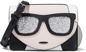 Karl Lagerfeld - K/ikonic Glitter-embellished Textured-leather Shoulder Bag - Black