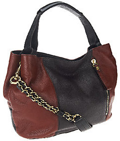 As Is orYANY Italian Leather Satchel w/ Chain Strap- Bethanie