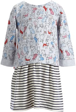 Joules Little Girls 3-6 Long-Sleeve Stripe/Printed Dress