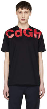 Comme des Garcons Homme Navy and Red CDGH Logo T-Shirt