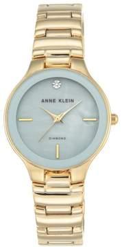 Anne Klein Diamond Accent Goldtone Blue Dial Bracelet Watch
