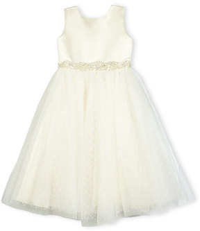 Joan Calabrese Satin & Textured Tulle Special Occasion Dress, Ivory/Gold, Size 2-6