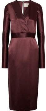Dion Lee Wrap-effect Silk-satin Midi Dress - Burgundy