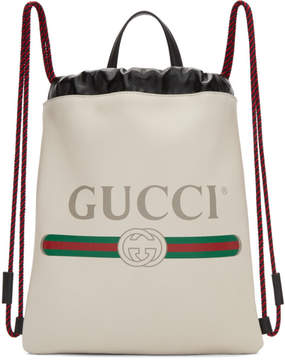Gucci White Small Logo Drawstring Backpack