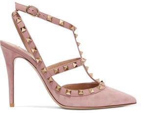 Valentino - Rockstud Suede Pointed-toe Pumps - Lavender