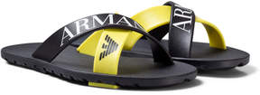 Armani Junior Black and Yellow Logo Strap Sandals