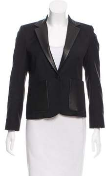Band Of Outsiders Leather Trimmed Wool Blazer