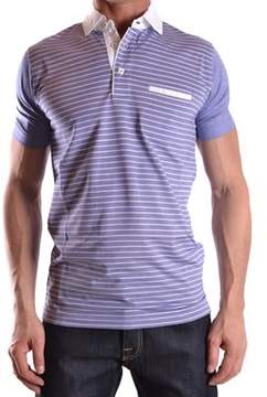 Dalmine Men's White/blue Cotton Polo Shirt.