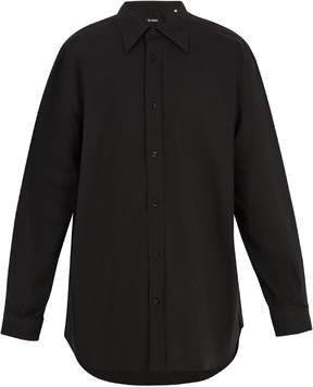 Raf Simons Point-collar embroidered cotton shirt