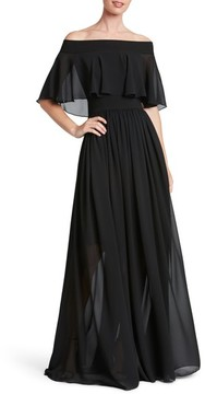 Dress the Population Women's Violet Off The Shoulder Chiffon Gown