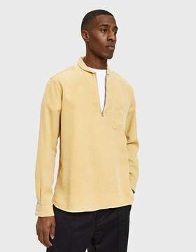 Our Legacy Shawl Zip Shirt in Sun Yellow Silky Wash