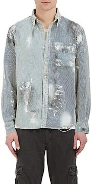 NSF Men's Axel Paint-Splattered Striped Cotton Shirt