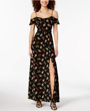 B. Darlin Juniors' Off-the-Shoulder Floral Maxi Dress