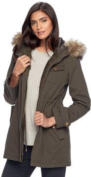 Apt. 9 Women's Hooded Faux-Fur Trim Cotton Parka