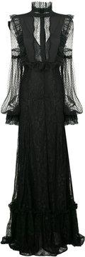Amen lace detail evening gown