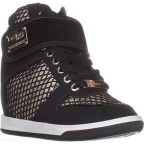Bebe Calisto Wedge Fashion Sneakers, Black/gold.
