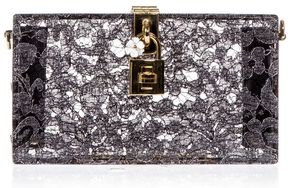 Dolce & Gabbana Dolce Box Clutch In Plexiglass And Inset Taormina Lace - GREY - STYLE