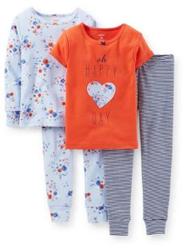 Carter's Baby Clothing Outfit Girls' 4 Piece PJ Set- Happy Day - 6 Months
