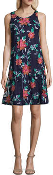 Robbie Bee Sleeveless Embroidered Floral A-Line Dress-Petites