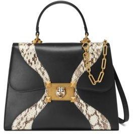 Gucci Osiride Leather & Snakeskin Top Handle Bag - BLACK-MULTI - STYLE